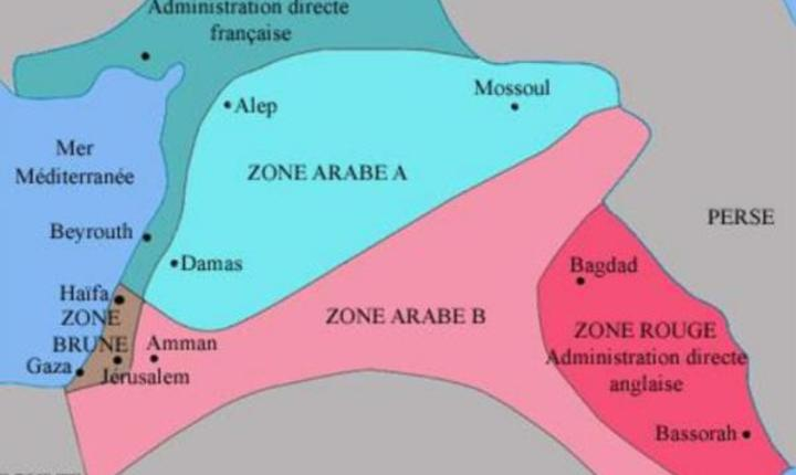 Harta Orientului apropiat si mijlociu decupatà dupà acordurile Sykes-Picot