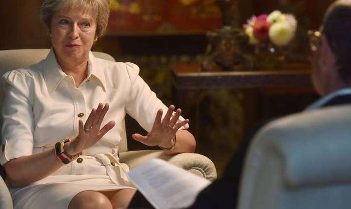 Theresa May în timpul interviului BBC