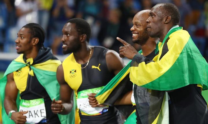 Echipa jamaicană din finala ştafetei de 4X100 m, la Rio. Usain Bolt, primul din dreapta (Foto: Reuters/Kai Pfaffenbach)