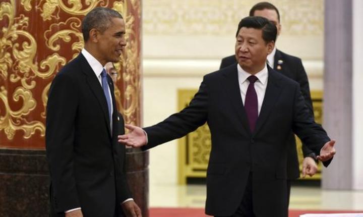 Presedintele american Barack Obama si omologul sàu chinez Xi Jinping în noiembrie 2014