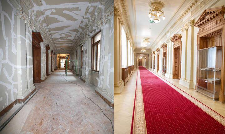 Culoarul din fața saloanelor de protocol. Înainte și după restaurare