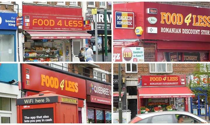 Food4less este un lanț de magazine alimentare românești cu prăvălii în Burnt Oak, Edgware, Queensbury și Colindale