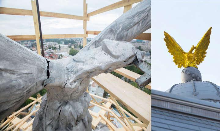Vulturul emblemă a Palatului Patriarhiei. Înainte și după restaurare