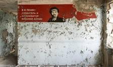 Perete cu inscriptii in limba rusa la Cernobil