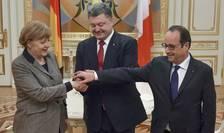 Angela Merkel, Petro Porosenko si François Hollande la Kiev pe 5 februarie 2015
