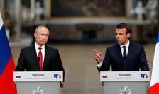 Conferinta de presa la Versailles, 29 mai 2017, Vladimir Putin si Emmanuel Macron