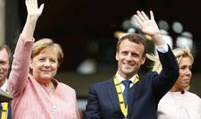 Angela Merkel şi Emmanuel Macron la Aachen, pe 10 mai 2018, cînd preşedintele francez a primit Premiul Carol cel Mare