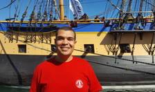 Wael Chebbi, student tunisian la Bucuresti si matelot pe L'Hermione, în portul Sète, 1 aprilie 2018