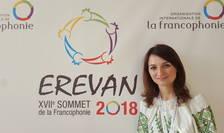 Ana-Maria Boghean, coordonatoare adjunctà la PIRJEF, le-a prezentat sefilor de stat si de guvern reuniti la Erevan declaratia tinerilor din spatiul francofon.