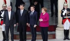 Jean-Claude Juncker, Xi Jinping, Emmanuel Macron, Angela Merkel la Palatul l'Elysée, 26 martie 2019