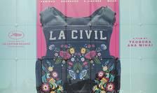 """Afisul filmului """"La Civil"""" al româno-belgienei Teodora Ana Mihai, pe Palatul Festivalurilor din Cannes."""