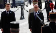 Emmanuel Macron si François Hollande cu ocazia comemorarilor de la Paris legate de Ziua Victoriei