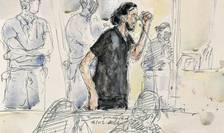 Crochiu al lui Salah Abdeslam realizat în deschiderea procesului, 8 septembrie 2021.