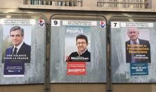 Afise cu candidatii la alegerile prezidentiale din Franta, Paris, 15 aprilie 2017.