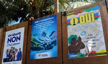 Afise de campanie pentru ori contra independentei Noii Caledonii. Referendumul a avut loc pe 4 noiembrie 2018.
