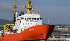 Aquarius în portul din Marsilia. Vasul si-a reluat activitatea dupa o luna de escala tehnica, 1 august 2018.