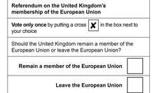 Buletin de vot în referendumul din Marea Britanie