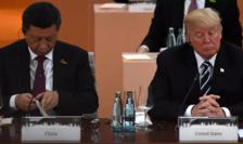 Preşedintele chinez Xi Jinping şi preşedintele american Donald Trump la summit-ul G20 de la Hamburg din iulie 2017.