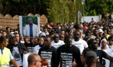 Manifestaţie în Franţa, la Beaumont-sur-Oise, după moartea lui Adama Traoré într-un post de poliţie, în 2016.