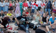 Manifestanţi anti-Lukaşenko la Minsk pe 16 august 2020.