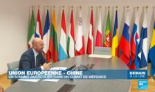 Preşedintele Consiliului european, Charles Michel, în aşteptarea teleconferinţei cu Xi Jinping, 14 septembrie 2020.