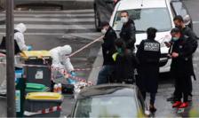 Poliţia în cartierul unde a fost comis atentatul de pe 25 septembrie 2020, rue Nicolas-Appert, arondismentul XI, Paris