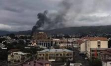 Stepanakert, capitala regiunii Nagorno-Karabah, bombardată pe data de 4 octombrie 2020.