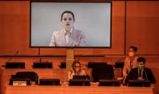 Svetlana Tihanovskaia în cursul unei precedente teleconferinţe cînd s-a adresat Comisiei ONU pentru drepturile omului de la Geneva.