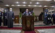 Ministrul francez de externe Jean-Yves Le Drian la Cairo, întîlnire cu marele imam al moscheii Al-Azhar, 8 noiembrie 2020.