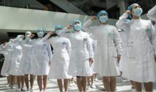 Infirmiere într-un spital de la Wuhan, mai 2020.