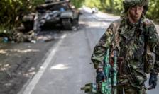 Separatist pro-rus în estul Ucrainei, iulie 2014.