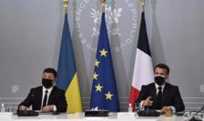 Volodimir Zelenski primit la Palatul Elysée de Emmanuel Macron pe 16 aprilie 2021.
