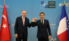 Preşedintele turc Recep Tayyip Erdogan şi preşedintele francez  Emmanuel Macron, Bruxelles, 14 iunie 2021.