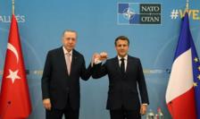 Preşedintele turc Recep Tayyip Erdogan şi preşedintele francez Emmanuel Macron la Bruxelles, pe 14 iunie 2021, în contextul unui summit NATO.