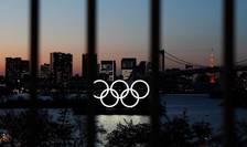 Cercurile olimpice stralucesc la Tokyo, în apropiere de Odaiba Marine Park.