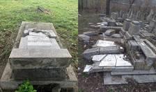 Cimitirul Evreiesc de la Ploiești (stânga) și cel din Huși