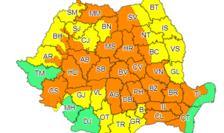 Cod portocaliu de ploi în 34 de județe din țară.