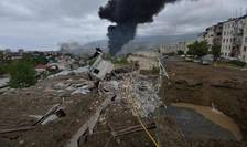Bombardamente la Stepanakert, capitala regiunii Nagorno-Karabah din Azerbaidjan unde armenii sunt majoritari, 4 octombrie 2020