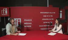 Constantin Rudniţchi și Andreea Mitiriță in studioul de inregistrari RFI Romania