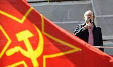 Jeremy Corbyn la demonstrația de 1 mai în 2016