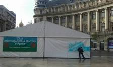 Un cort amplasat în Piața Universității a fost vandalizat cu mesaje rasiste