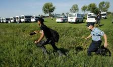 Un poliţist croat fugăreşte un imigrant, care vrea să urce într-un autobuz (Foto: Reuters)