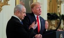 Donald Trump si Benjamin Netanyahu în timpul conferintei de presa comuna de la Casa Alba, 28 ianuarie 2020.