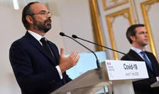 Premierul francez Edouard Philippe si ministrul Sànàtàtii, Olivier Véran, prezentând planul de iesire din carantinà, 7 mai 2020