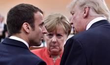 Emmanuel Macron, Angela Merkel si Donald Trump la summitul G20 din Hamburg, 7 iulie 2017