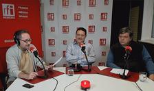 Constantin Rudniţchi, Laurenţiu Popescu şi Cristian Şoricuţ în studioul de emisie RFI