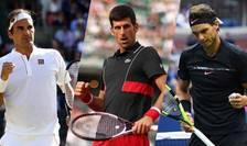 De la dreapta la stânga: Rafael Nadal, Novak Dkokovic și Roger Federer