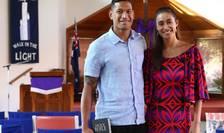Israel Folau și soția sa Maria în biserica din Sydney Kenthurst Uniting