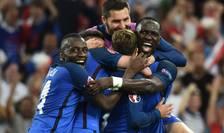 Tricolorii francezi dupà al doilea gol contra Germaniei, înscris tot de Antoine Griezmann