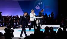 Cancelara germanà Angela Merkel si presedintele francez Emmanuel Macron au luat cuvântul în deschiderea Forumului pentru pace de la Paris, 11 noiembrie 2018